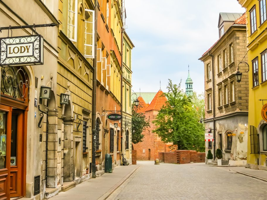 Old street on Warsaw, Poland
