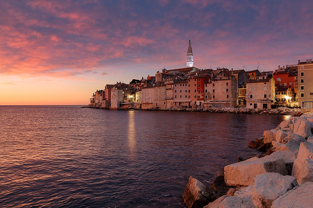 Drive to the old town of Rovinj on the Istrian peninsula