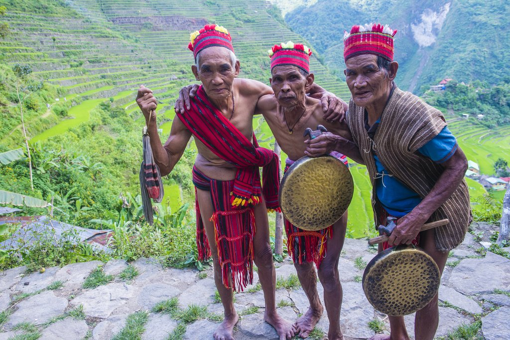 The Batad rice terraces with local Ifugao men