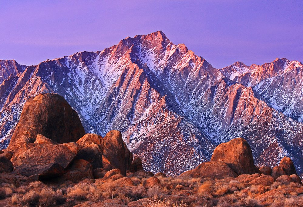 Mount Whitney and the Alabama Hills in the Sunset