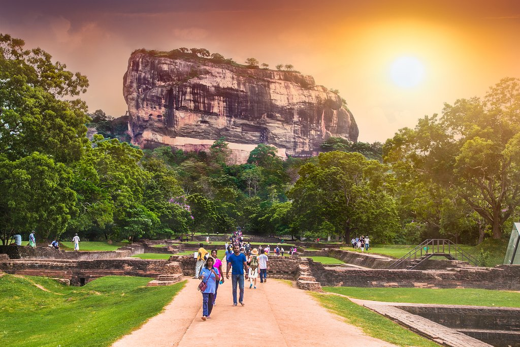 Sunset over the Sigiriya Rock Fortress.