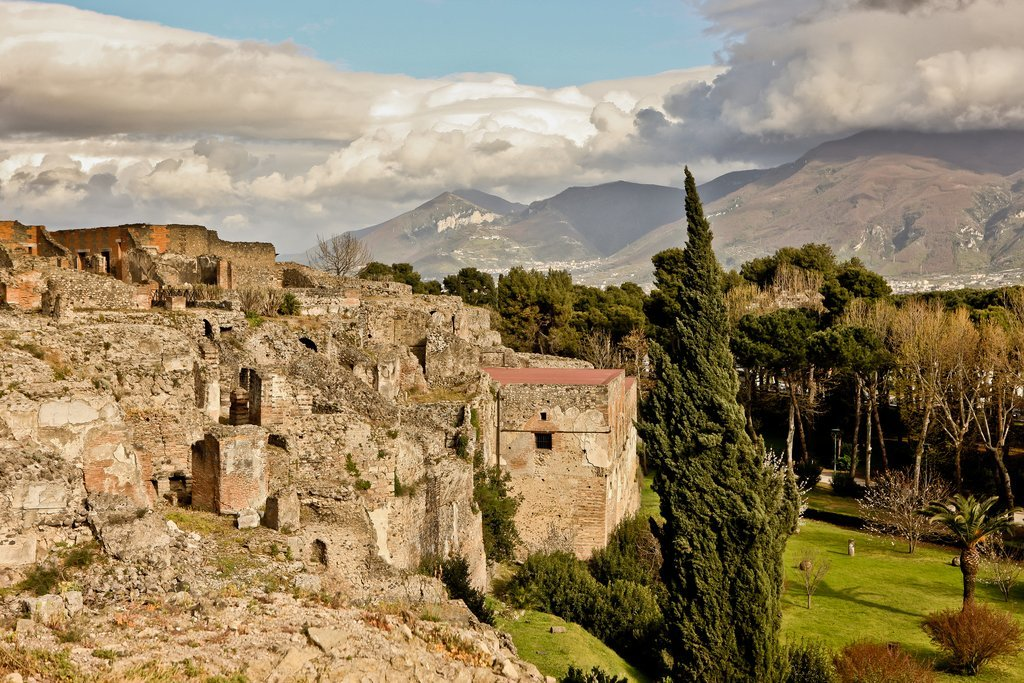 Pompeii ruins and surrounding hills