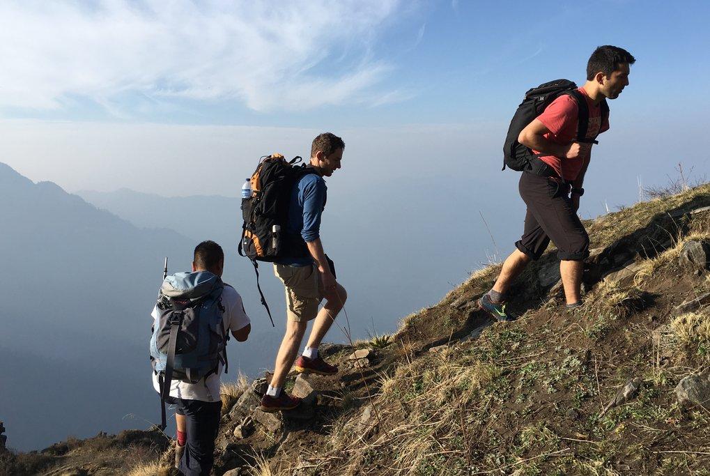 A group of trekkers just below Khopra Ridge in the Annapurna region of Nepal
