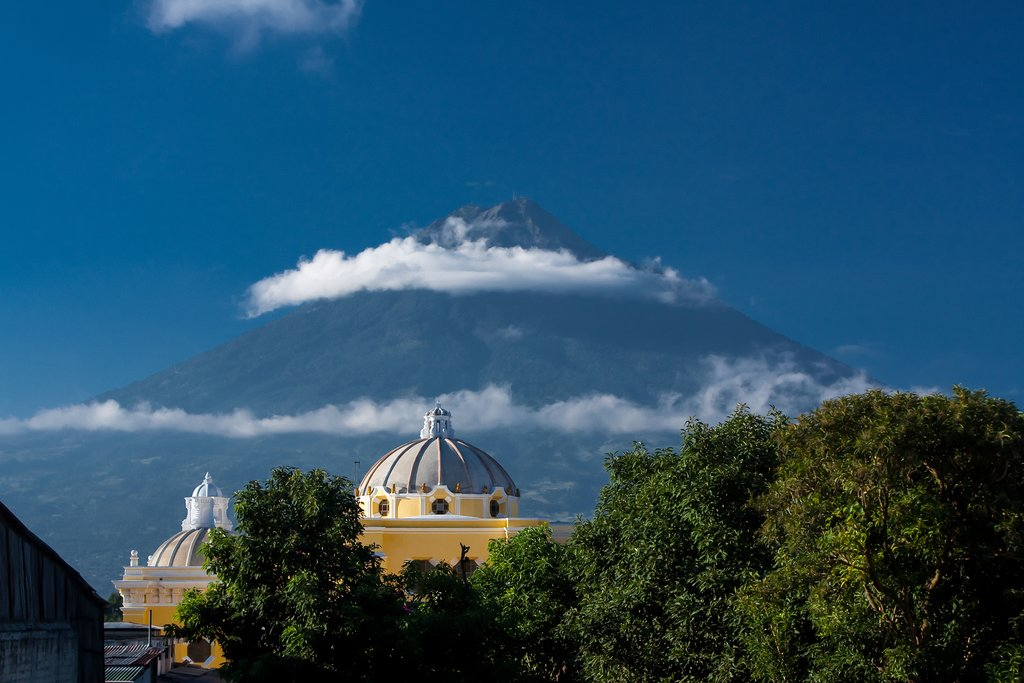 View of the volcano from Antigua, Guatemala