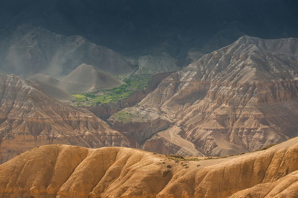 The desert landscape of Upper Mustang, the former kingdom of Lo
