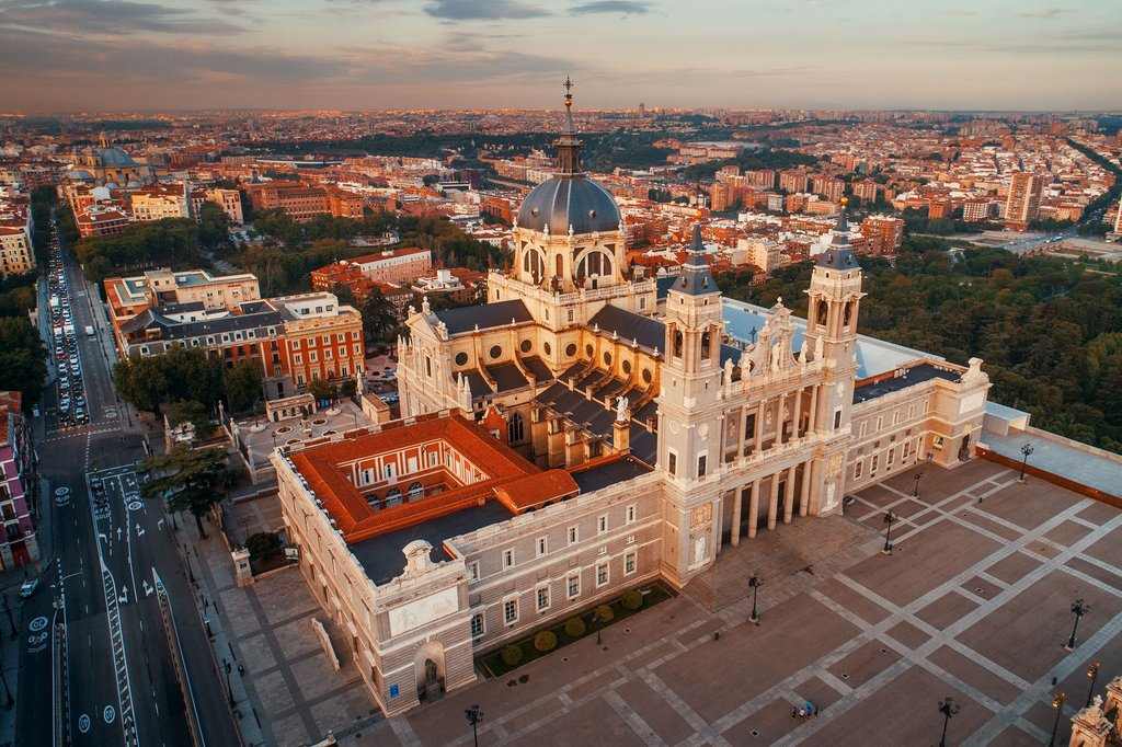 Aerial View of Madrid Cathedral