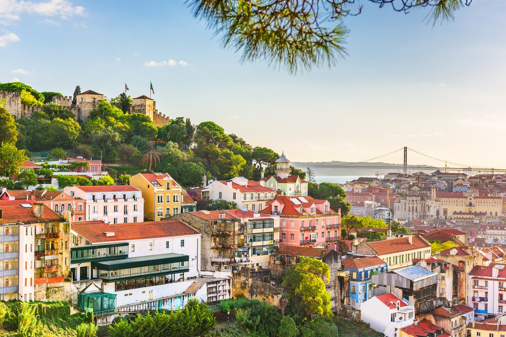 Lisbon's urban hillsides along the Tagus River