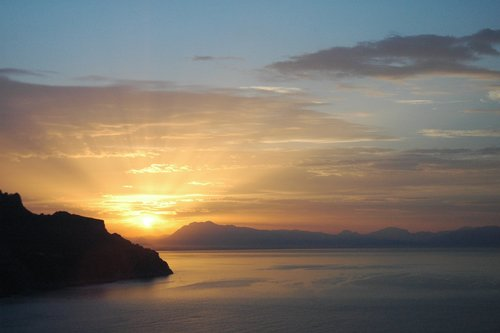 Sunset view from the island of Alba