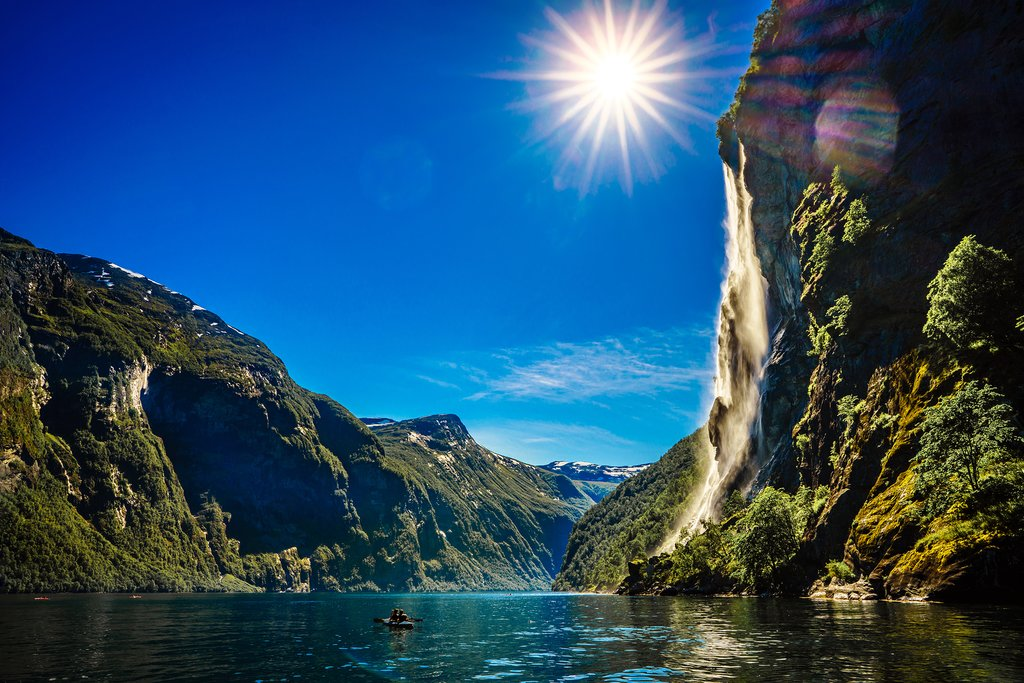 Look for waterfalls as you sail through the Geirangerfjord on the Hurtigruten.