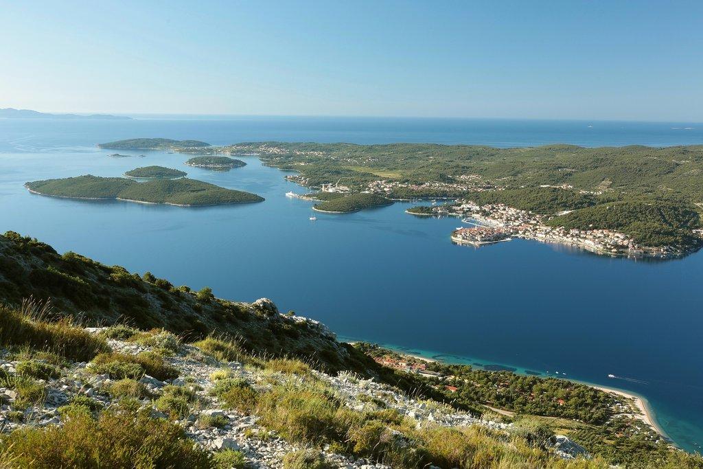 View of Korčula from atop Mt. Ilija on the nearby Pelješac peninsula