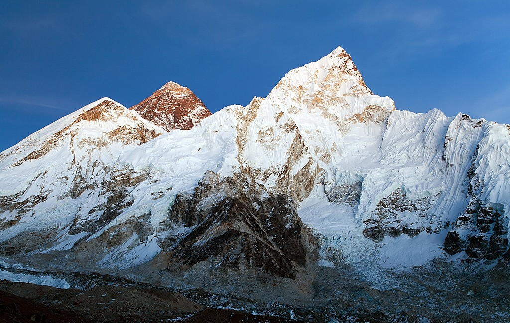The view of Mt. Everest and Nuptse from Kala Patthar
