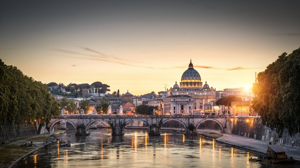 Sant`Angelo Bridge and St. Peter's Basilica