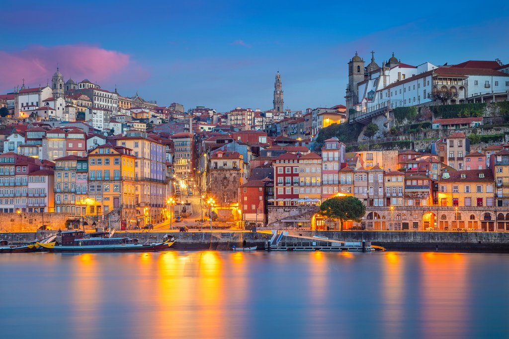 Porto shimmers after sunset