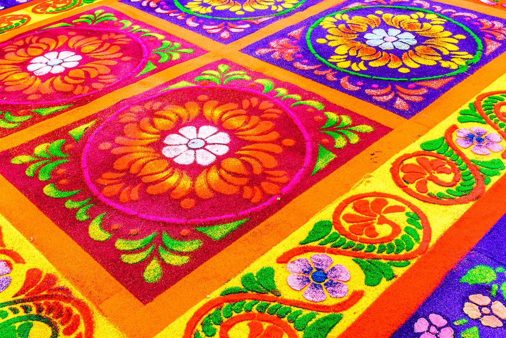 Handmade sawdust carpet for Holy Thursday procession in Antigua
