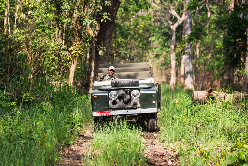 A safari vehicle in Chitwan National Park
