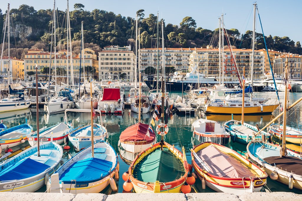Colorful boats in Port Lympia, Nice, France