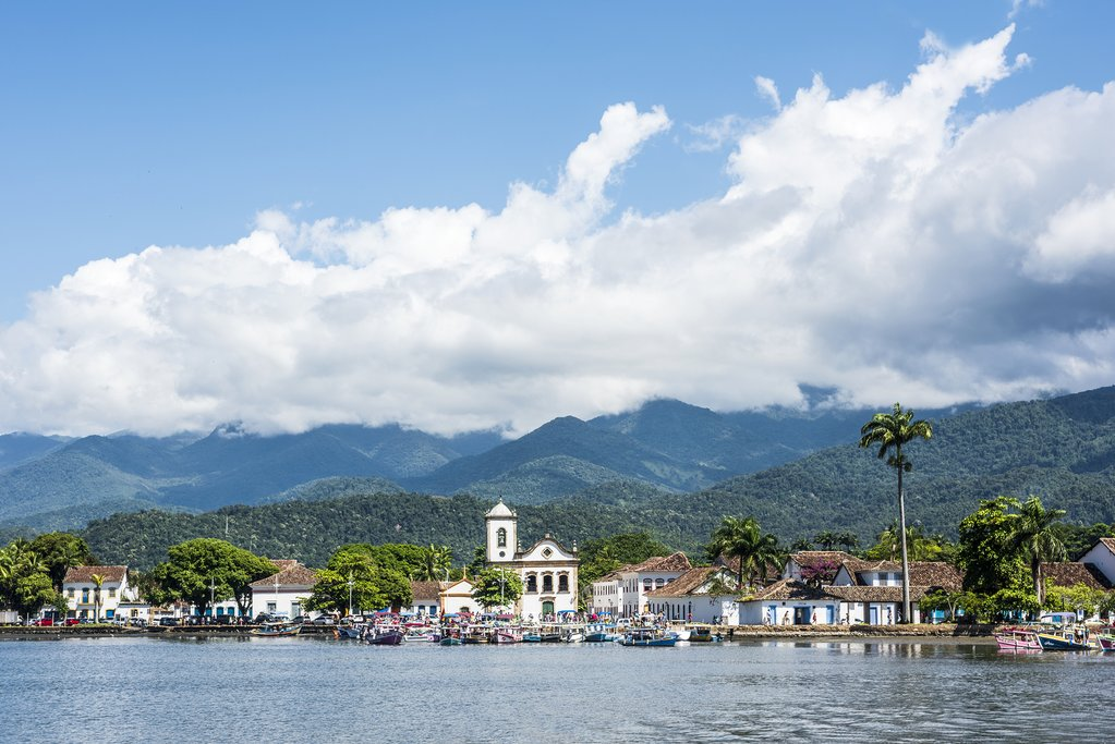 View of historic Paraty from the water