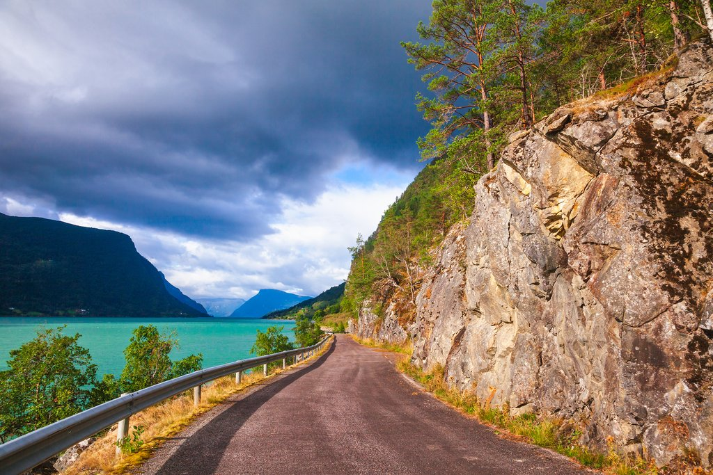 A fjord-side road near Solvorn