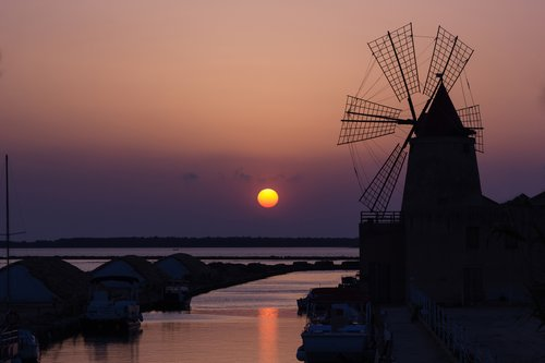 The salt pans of Trapani at sunset