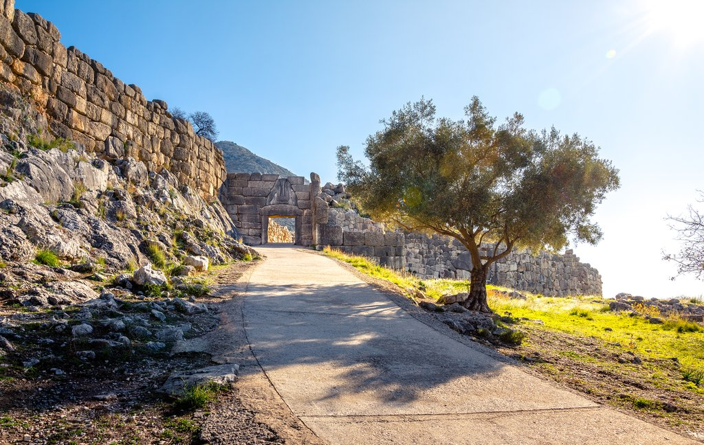 Approaching the Lion Gate at Mycenae