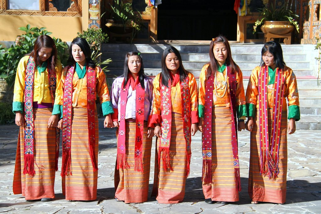 Bhutanese women dancing