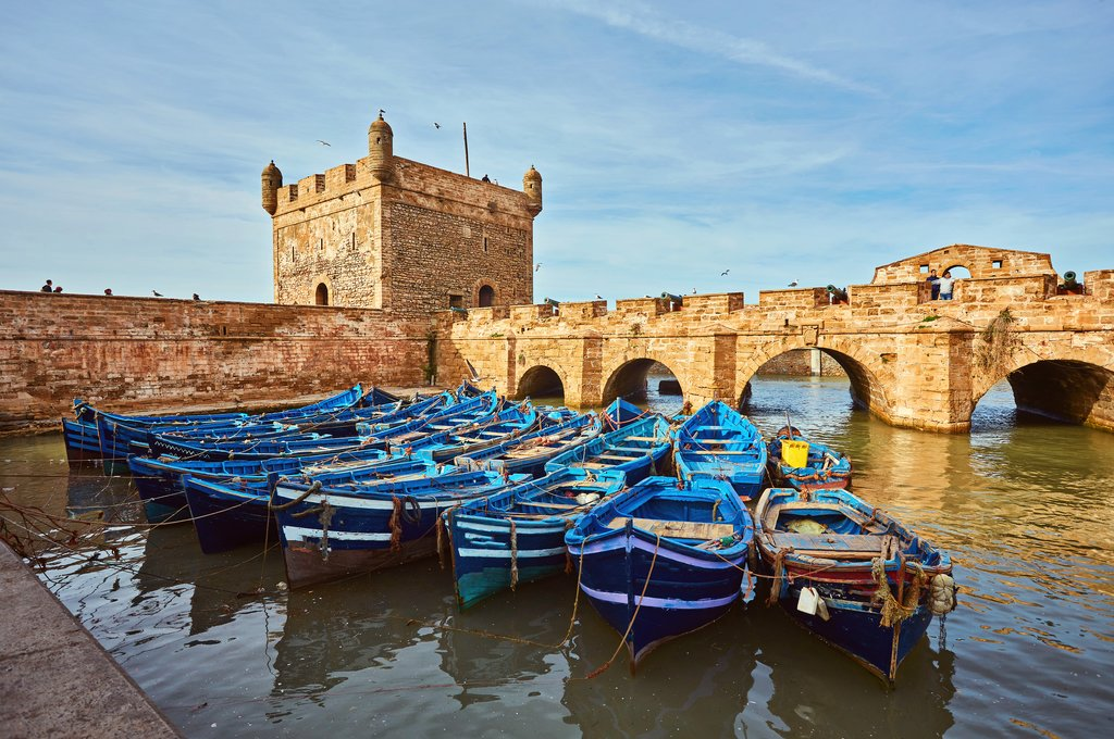 Boats in the harbor at Essaouira