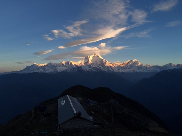 Just above the Khopra teahouse, looking West toward Dhaulagiri during sunrise