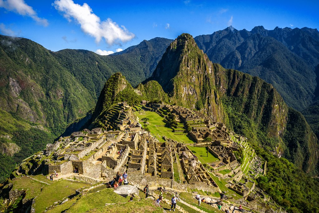 View of the famous archaeological site Machu Picchu