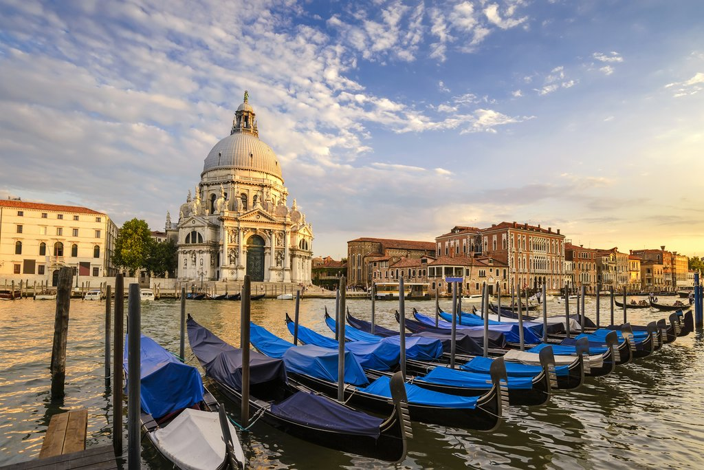 Gondolas in front of Venice's Grand Canal