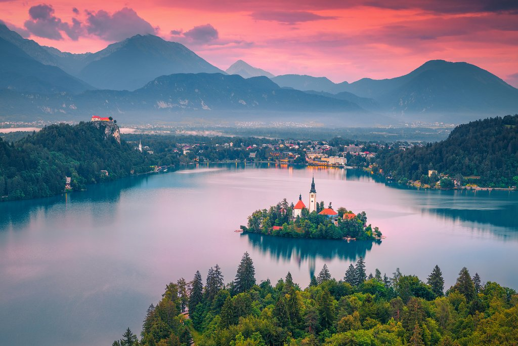 A magical evening view of Lake Bled
