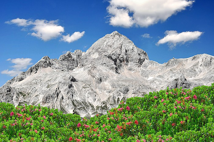 The iconic peaks of Mount Triglav are featured on Slovenia's flag