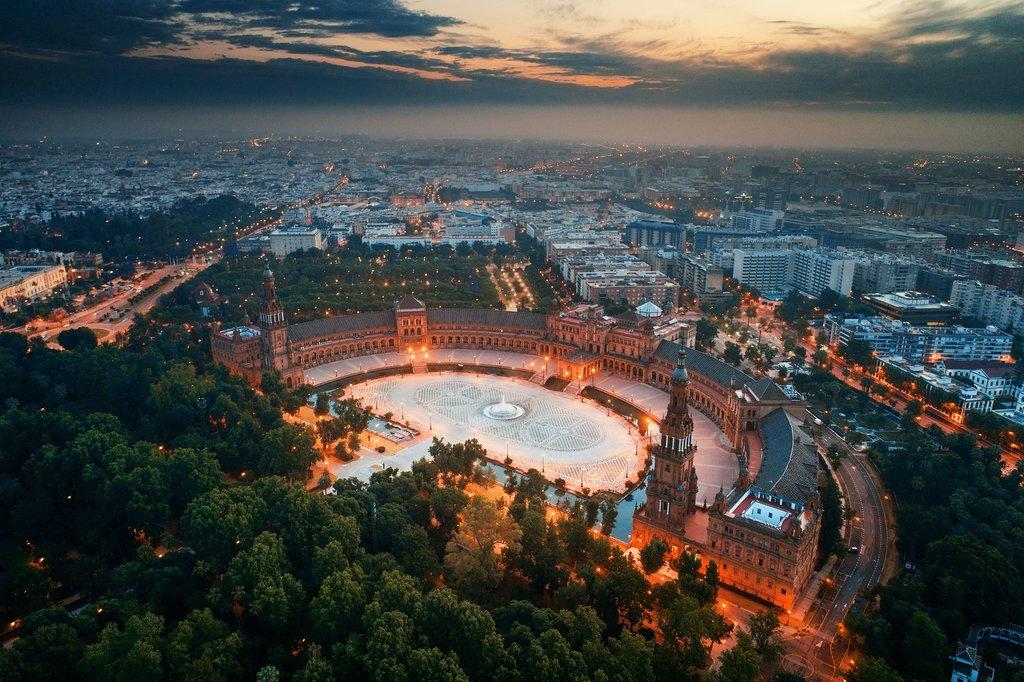 Plaza de España and Seville Skyline