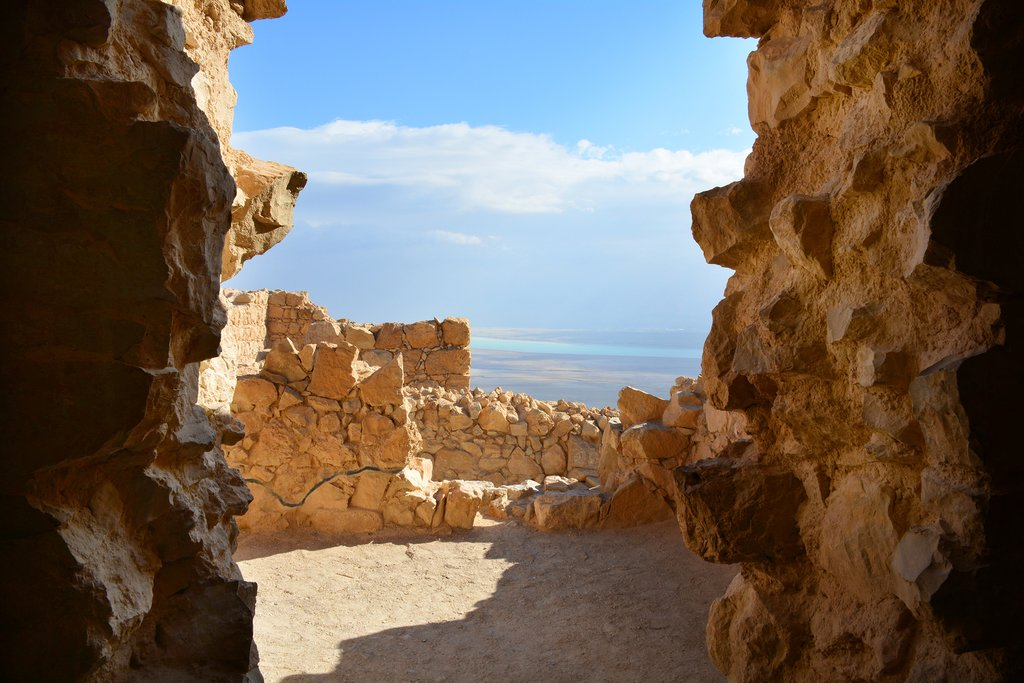 Peer out from the fortress of Madaba onto the Dead Sea and the Judean Desert from Madaba Fortress
