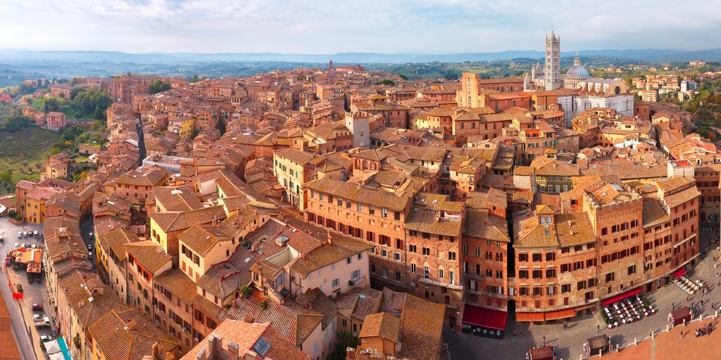 A panoramic view of the historic center of Siena