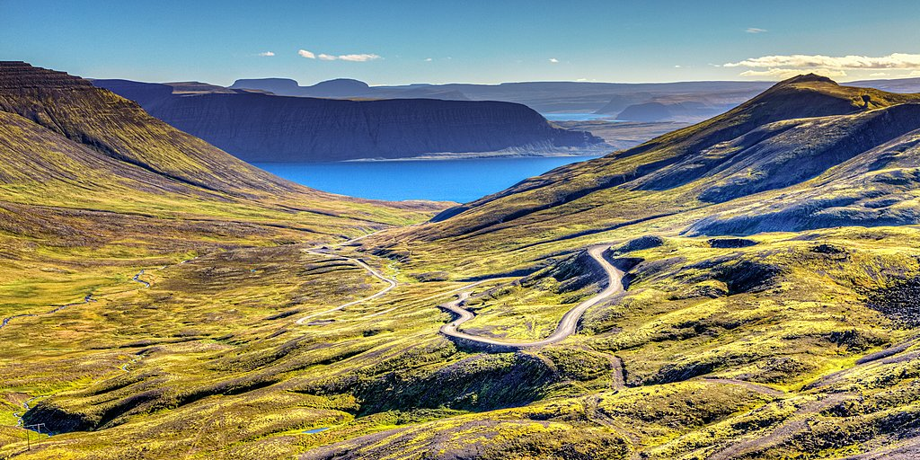 A view over the town of Isafjordur in the Westfjords