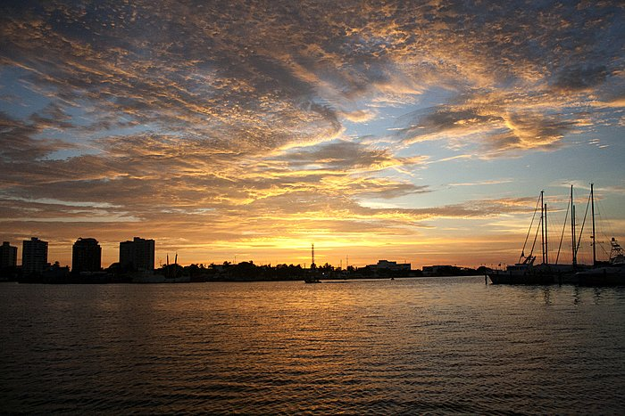 View of Cartagena's marina at sunset