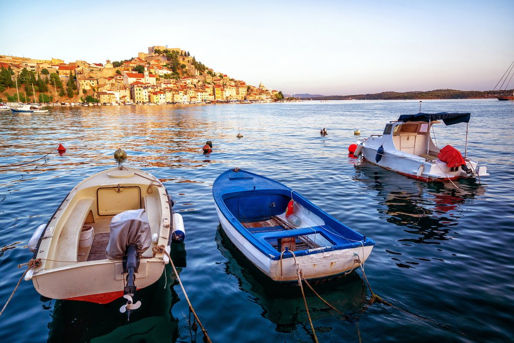 Local fishing boats off the coast of Old Town Sibenik