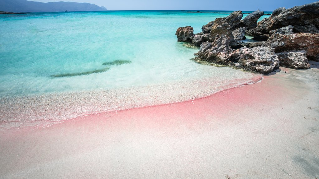 The pink sand beach of Elafonissi, Crete