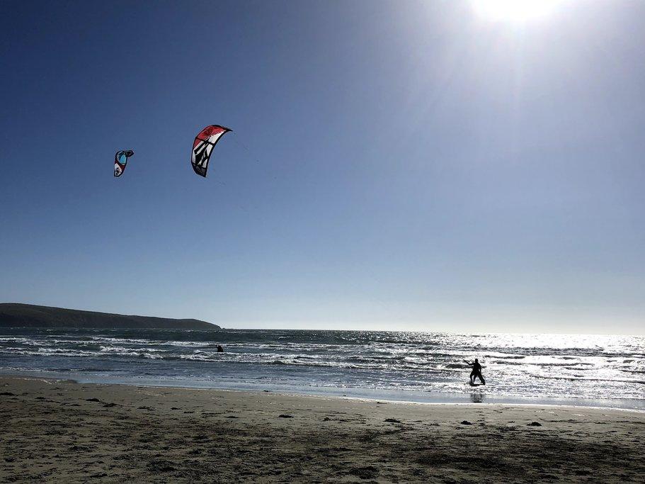 Kite surfers at Dillon Beach