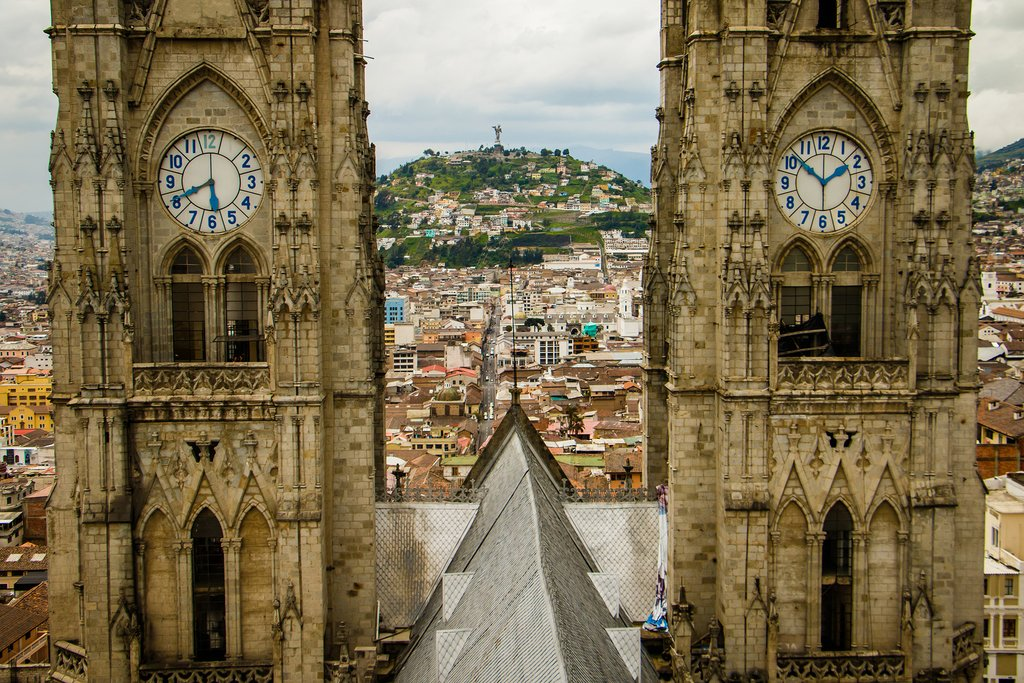 Quito's Old Town is full of towers and spires