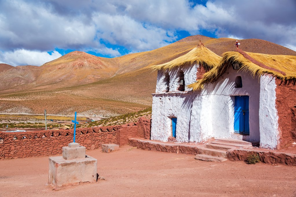 Straw-roofed church at Machuca Village