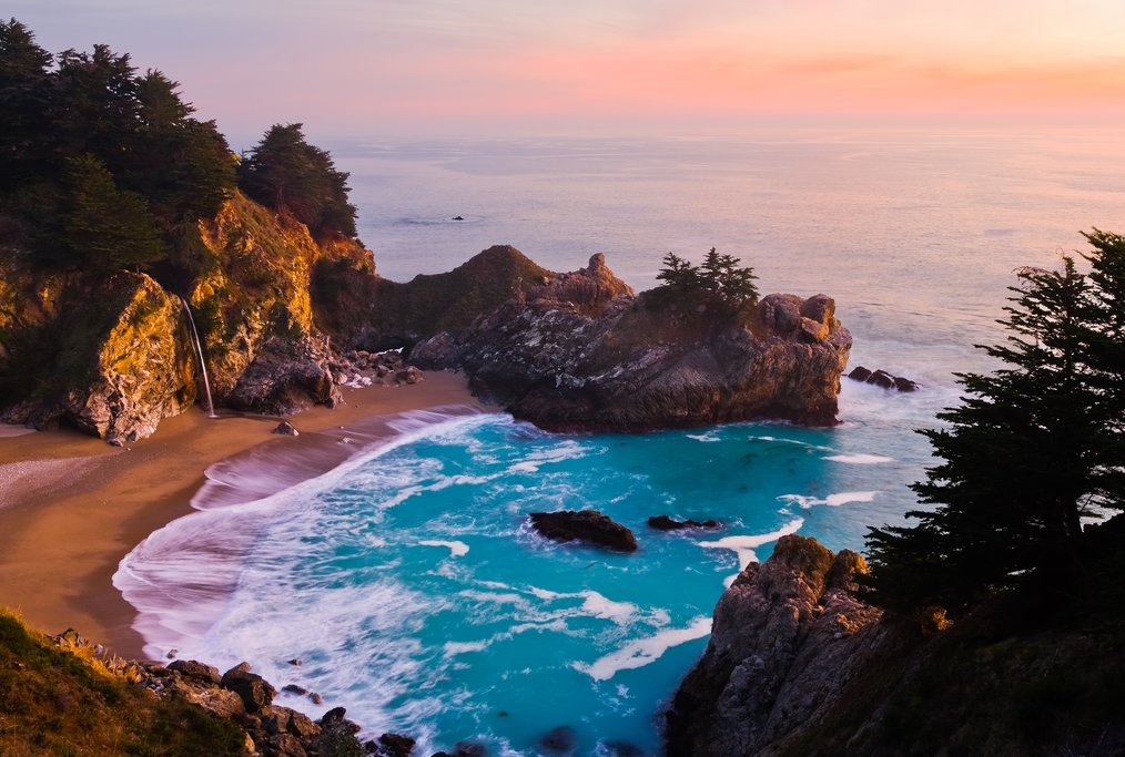 Sunset over Big Sur's McWay Falls