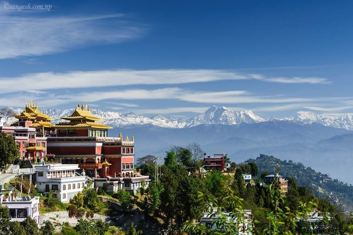 Namobuddha Monastery with the mountains in the background