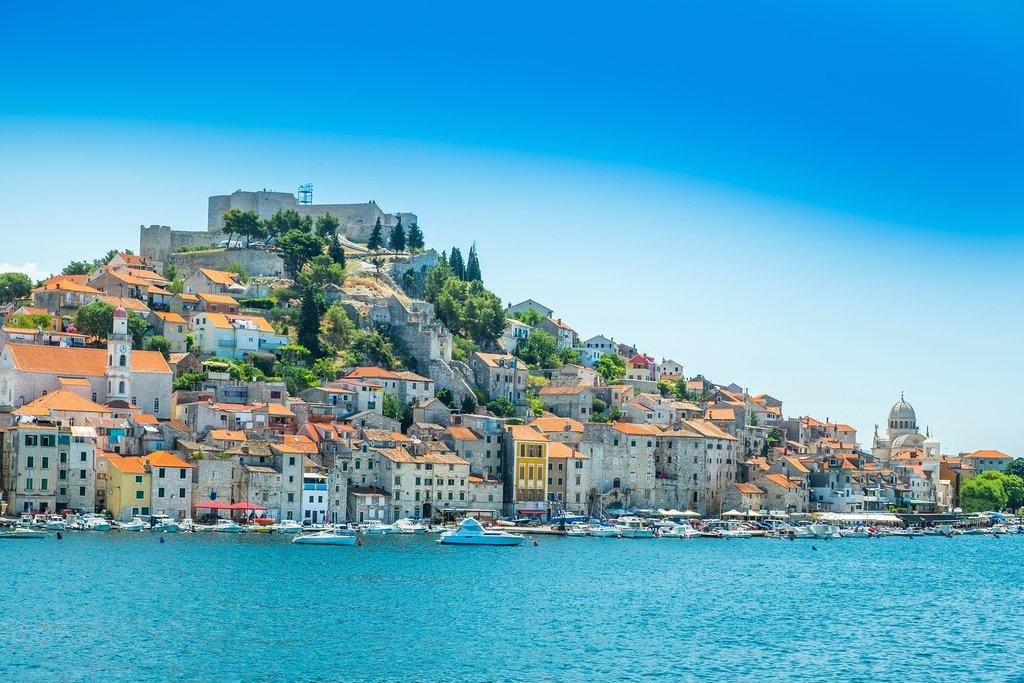 The old town of Sibenik on the Adriatic coast in Dalmatia