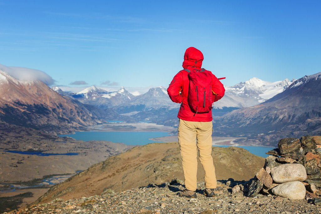 A hiker enjoying the views in Patagonia