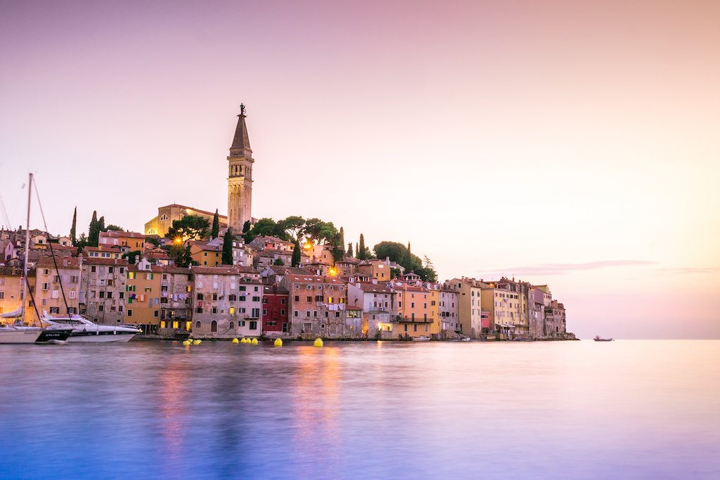 The Cathedral of St. Euphemia towering over the town of Rovinj in Istria