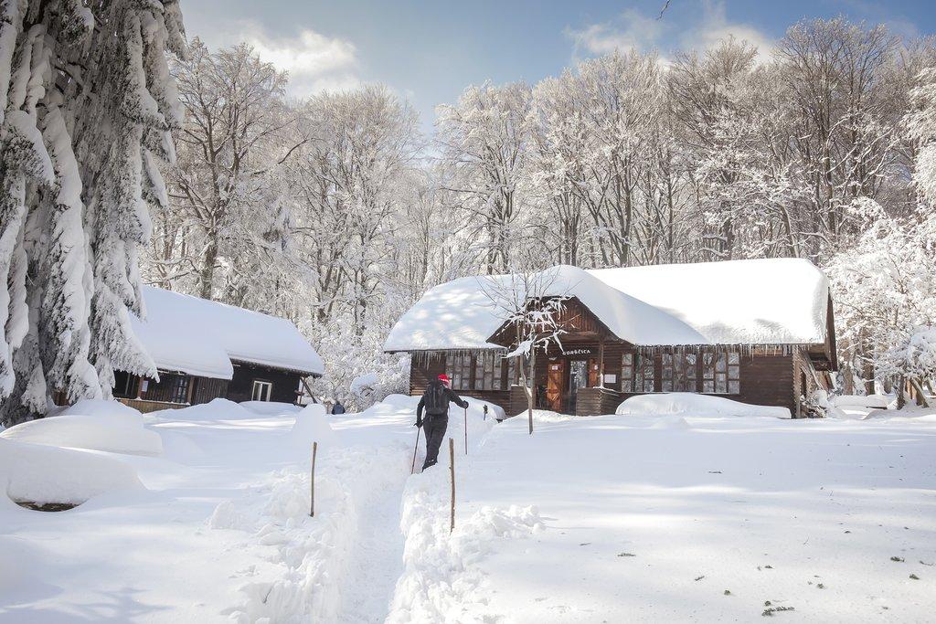 A mountain hut on the Sljeme hilltop outside of Zagreb