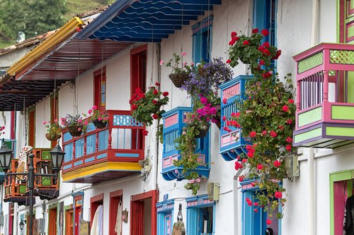 Colorful balconies in Saltento, the heart of Colombia's Coffee Region.