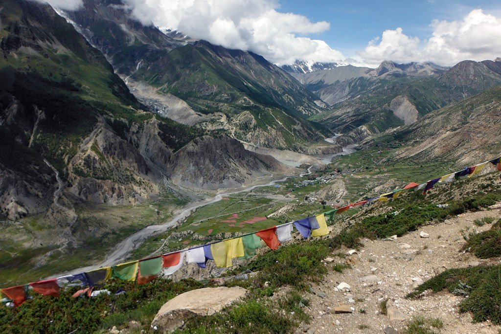 The Manang valley along the Annapurna Circuit during monsoon