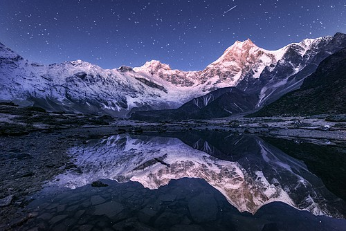 The Manaslu Himalayas at night, Nepal